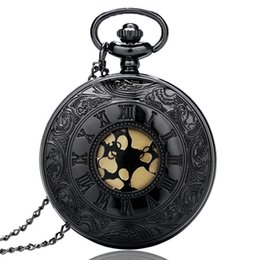 Chinese  Black Gray Roman Numerals Dial Quartz Pocket Watch Vintage Antique Men Women Fob Watches with Necklace Analog Clock Gift manufacturers