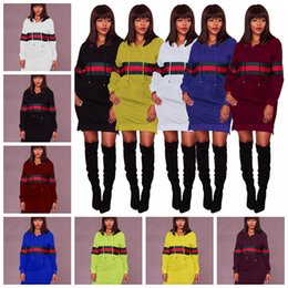 $enCountryForm.capitalKeyWord NZ - European-style fashionable pure color set head stripe hoodie collar long sleeve hoodie dress black, yellow, white, blue support mixed batch
