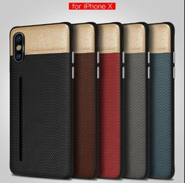 Luxury Credit Card Iphone Australia - Luxury Fabric Skin Cell Phone Case Credit Card Slots Holder Silicone Hard PC Cases for iphone X 7 8 6 6S plus DHL
