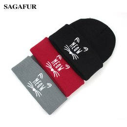 $enCountryForm.capitalKeyWord Canada - Hot Sale Warm Hat Female Quality Letter Embroidery Cute Kitten Pattern Knitted Hat Street Fashion Casual Men Women's Cap Beanies