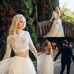 Discount muslim beach wedding dresses - Fashion Unique Ivory Two Piece Wedding Dresses Top Lace Long Sleeve Flowy Cheap Bohemian Wedding Dress Zipper Back Sexy