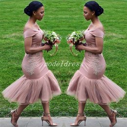 Sage tea online shopping - Tea Length Mermaid Bridesmaid Dresses Off Shoulder Appliques Short Garden Country Beach Wedding Guest Gowns Maid Of Honor Dress Cheap