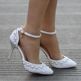 2018 Scarpe da donna Pompe Pizzo bianco perla strass bordato cavigliera scarpe da sposa principessa grandi sandali di grandi dimensioni