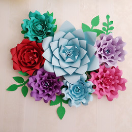 Paper flower kits nz buy new paper flower kits online from best personalized diy half made kits 7pcs giant paper flowers large flower with 7 pcs leaves for wedding backdrop baby nurseries deco mightylinksfo