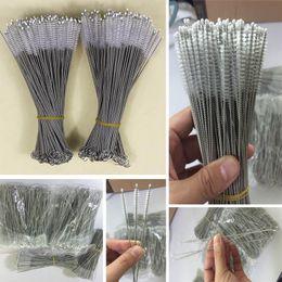 Toptan satış Paslanmaz Çelik Payet İçme Temizleme Fırçası Boru Tüp Biberon Bardak Kullanımlık Ev Temizleme Araçları 175 * 30 * 5mm HH7-1071