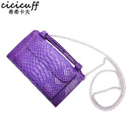 Genuine Snake Leather Bags NZ - CICICUFF Fashion Snake Pattern Designer Ladies Clutch Long Wallet Genuine Cow Leather Women Chain Shoulder Messenger Bag Banquet Y18110101