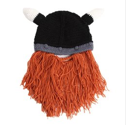 812fa833612 Funny Man Vikings Beanies Knit Hats Beard Ox Horn Handmade Knitted Men s  Winter Hats Warm Caps Women Gift Party Mask Cosplay Cap