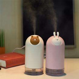 Мини животных мультфильм 280 мл USB увлажнитель ультразвуковой медведь Кролик увлажнители воздуха туман чайник очиститель воздуха настольные украшения DHL бесплатно на Распродаже