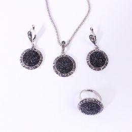 Groot Pendant Australia - M MISM Vintage Crystal Earrings Set Long Chain Pendant Necklace Women Black Ring Set Boho Jewelry Sets Shining Groot Oorbellen