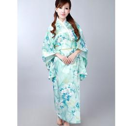 Fashion Light Blue Japanese Women s Silk Satin Kimono Yukata Evening Dress  Flower One Size Free Shipping H0047 6cf4b269c1d5