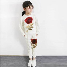 $enCountryForm.capitalKeyWord Australia - Aile rabbit Spring Fashion Style Girl Clothing Sets Sports Long Sleeve tracksuit Roses Floral girls suit Sequin Kids Clothes Set