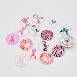 Breast cancer accessories online shopping - Mixed MM Glass Ribbon Breast Cancer Awareness Snap Button Charms DIY Snap Jewelry Accessories