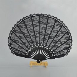 wedding dresses for dancing NZ - Spanish Victorian Vintage Hand Fan for Wedding Party Favor Fancy Dress Black Japanese Folding Pocket Fan Dancing Props GBN-015