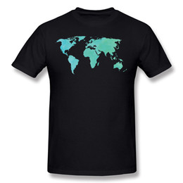 $enCountryForm.capitalKeyWord NZ - 2017 Adult Pure cotton Aqua and teal Watercolor world map Tee Shirt Adult O Neck Carbon Short Sleeve Shirts Plus Size Family Tee Shirt