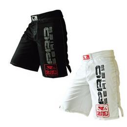 Preto Branco Muay Thai Calças De Treinamento De Fitness Mma Boxe Shorts De Boxe Muay Thai Muçulmano Barato Shorts De Boxe Calções Kickboxing venda por atacado