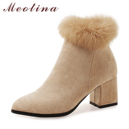 Women leather boot rabbit online shopping - Winter Shoes Women Ankle Boots Real Rabbit Fur Short Boots Square Heel Boots Zipper Pointed Toe Ladies Footwear Beige