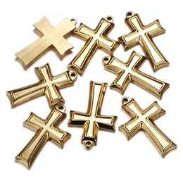 craft crosses NZ - 16*19mm Stainless Steel Mini Cross Charms Fit necklace handmade Jesus charms for Christian Jewelry DIY Crafts Wholesale