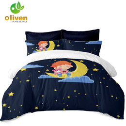 moon stars bedding sets 2019 - Deep Blue Cartoon Bedding Set Baby Kids Moon Star Print Duvet Cover Set Festival Bedclothes Bed Cover Pillowcase Home De