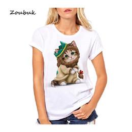 $enCountryForm.capitalKeyWord Australia - Cute cat printed t shirt women Wizard of Oz design white tee shirt female kawaii kitten animal print tops tshirts lovely shirts