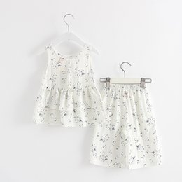 Discount linen suit outfits - BINIDUCKLING 2017 Children Clothing Linen Sets Flower Vest+Nine Pants Kids Girl Outfits Polka Sleeveless Tops Suits Clot