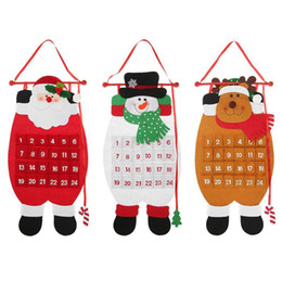 xmas tree hanging santa claus decorations NZ - Christmas Tree Hanging Advent Calendar Christmas Santa Claus Snowman Elk Calendar 2019 Xmas Ornaments Home Office Decoration