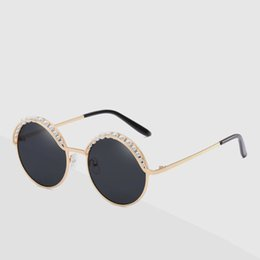 5f03011a821 Pearl frame round For Sale - New personality round box lady fashion film  sunglasses inlaid pearl