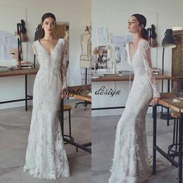 MerMaid sheath wedding dresses short train online shopping - 2018 Lihi Hod Bohemian Lace Wedding Dresses With Long Sleeve Mermaid Beach Wedding Dress V Neck Sweep Train Boho Bridal Gowns