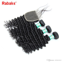 Discount weave deals - Rabake 8A Grade Indian Virgin Hair Bundles with Closure Deep Wave Deep Curly Raw Indian Unprocessed Human Hair Weave Bun
