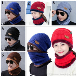 beanie hat cap scarf 2019 - Winter Warm Knitted Hat 6 Colors Beanie Hats Scarf Sets For Student Teenagers Men Knitted Hat Cap MMA994 cheap beanie ha