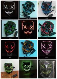 EL Wire Ghost Mask 10 colores de luz de hendidura iluminar brillantemente Máscara de LED Halloween Cosplay Party Máscaras 0601793
