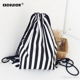 9e8bb1d2cad Wholesale- EXCELSIOR 2016 Vintage Stripe Printing Drawstring SackPack Bag  Women s Canvas Backpack Bag Beach Travel Bag School Bags G075