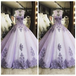 Wholesale custom art online online – design 2019 New Lace Ball Gown Quinceanera Dresses Long Prom Gowns Lace Appliques Custom Online Special Occasion Wears Formal Evening Party Gowns