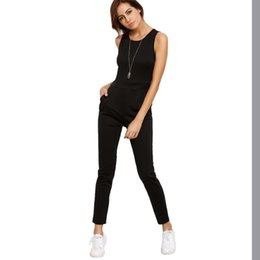 Woman Jumpsuit Round Neck NZ - Sexy Slim Sleeveless Round Neck Long Rompers Women Jumpsuit 2017 New Fashion Casual Plysuit Female Solid Color Regular Bodysuits