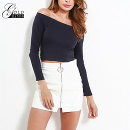7c7a74edce7e9 Women Sexy Off Shoulder Crop Top Slash Neck Long Sleeve Fitness Blouse  Summer Thin Short Bare Midriff Knitted Cropped Tops Shirt
