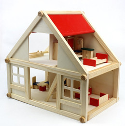 Wholesale Wooden Wonders Tall Townhome house with 16 Pieces of Furniture,building block for Kids
