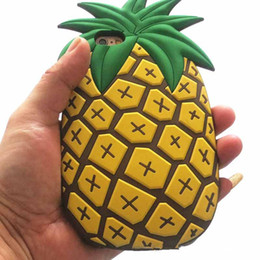 3d pineapple case UK - 3D Cute Cartoon Fruit Yellow Pineapple Soft Silicone Rubber Bumper Gel Shockproof Cover for iphone X 8 7 6 6S Plus Samsung