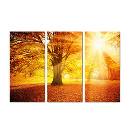 large floral canvas art UK - Large 3 Panel Golden autumn Maple Landscape Painting Canvas Print Wall Art Picture Modern Home Decor For Living Room Decoration SetA12