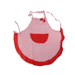 polka dots apron UK - Polka Dotted Bowknot Decor Halter-Neck Style Sleeveless Women'S Kitchen Cooking Apron With Pocket (Red)