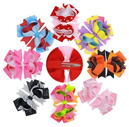 Wholesale 13 cm Girls Baby Childrens Headbands Bow Knotted Wearing Hair Band Hairpins Dot Grosgrain Ribbon Cloth Headdress Tail Clip Hair Accessorie