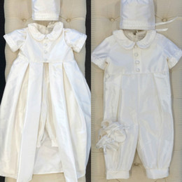 $enCountryForm.capitalKeyWord NZ - First Communion Dresses Short Sleeve Ankle Length Applique With Hats Baby Kids Infants Jumpsuits Christening Dress