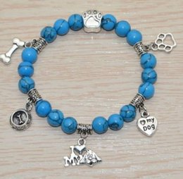 Discount beads dog bones - Vintage Silver Cat Dog Paw Prints Bone Turquoise Bead Charms Expandable Wire Bracelet Wedding Cuff Bangles For Women Jew