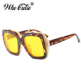 2f2066f8e98 Flip Up Sunglasses Yellow UK - WHO CUTIE 2018 Square Flip Up Steampunk  Sunglasses Men Women