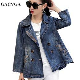 Double Xl Size Jeans NZ - GACVGA 2018 Spring Autumn Denim Jacket Women Embroidered Plus Size Bomber Jacket Winter Jeans Women Basic Coats