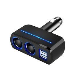 3.1A deux chargeurs de voiture USB, chargeurs de téléphone de voiture 1to2 deux trous d'alimentation, blanc et noir avec lumière LED