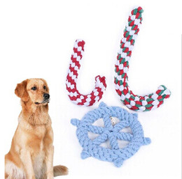 braided cotton rope wholesale NZ - Christmas Crutch Pet Dog Toys Christmas Cane Rudder Toy Braided Cotton Rope Dog Cat Interactive Play Toys