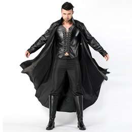$enCountryForm.capitalKeyWord UK - 2018 New Adult Mens Halloween Vampire Costumes Faux Leather Outfits Fancy Party Devil Cosplay Dresses With Long Coat and Pants sexy