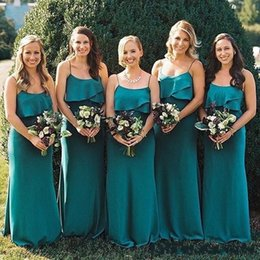 $enCountryForm.capitalKeyWord Canada - 2018 Hunter Green Bohemian Bridesmaid Dresses Spaghetti Straps Sheath Chiffon Beach Long Maid Of Honor Country Style Wedding Party Gowns