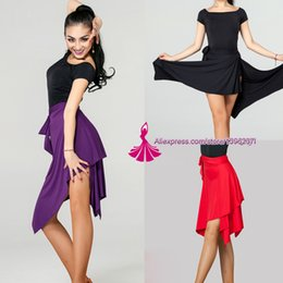 6dded73ec Latin Dance Skirt For Women Black Purple Red Color Professional Sumba Dancing  Skirt Adult Cheap Stage Rumba Qia Qia Latin Dress