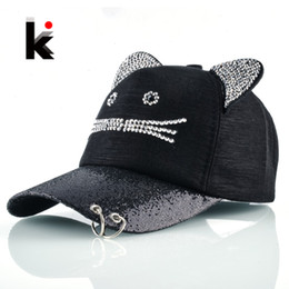 black trucker cap hat 2021 - Girls Flashing Rhinestone Baseball Cap With Cute Cat Ears Snapback Hip Hop Hats For Women Drake Metal Ring Trucker Bone Feminino
