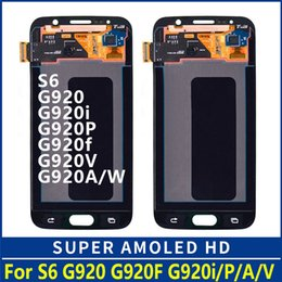 Lcd Blue Galaxy Australia - Super AMOLED LCDS For Samsung GALAXY S6 G920 G920F LCD Display Touch Screen Digitizer Assembly dark blue white gold